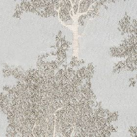 Keaton - Dove - Tree patterned fabric made from 100% polyester, with silver and white designs on a cool pale blue-grey background