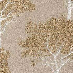 Keaton - Linen - Gold, white and light brown coloured 100% polyester fabric made with an elegant, stylish tree design