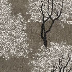 Keaton - Slate - Trees made with silver-white leaves and black trunks on a dark grey 100% polyester fabric background