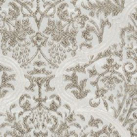 Amaya - Dove - Silver and pale grey coloured fabric made from 100% polyester featuring a detailed, extravagant, elegant pattern