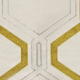 Ryker - Dijon - Tiny dots making up large geometric patterns and design outlines in gold and light grey on white 100% polyester fabric