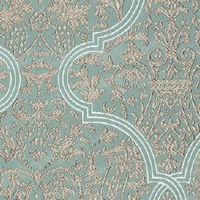 Amaya - Amaya - Elegant, sophisticated silver and duck egg blue coloured patterns covering 100% polyester, with some white embroidery