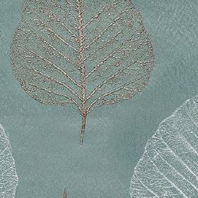Brice - Duck Egg - Elegant, delicate leaf skeletons creating a silver and white coloured pattern on dusky blue 100% polyester fabric