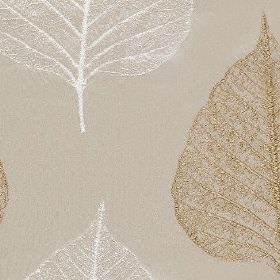 Brice - Linen - Light grey 100% polyester fabric behind a delicate, elegant design of leaf skeletons in white and luxurious gold colours