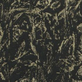 Cascade - Black - Abstract patterned  iron grey and charcoal grey coloured fabric made from a blend of polyester and cotton
