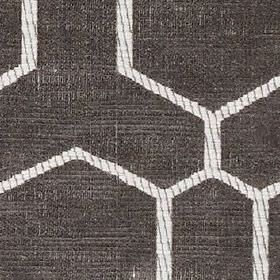 Nova - Grey - Large geometric shapes made with dark grey and white striped outlines on very dark grey polyester and cotton blend fabric