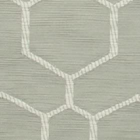 Nova - Silver - Fabric made from polyester and cotton in ash grey, patterned with large geometric shapes with grey and white outlines