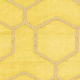 Nova - Zest - Light yellow polyester & cotton blend fabric featuring large, simple geometric shapes with creamy beige striped outlines