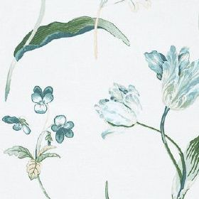 Buckingham - Forget Me Not - Light shades of blue and dark green making up an elegant floral pattern on a white 100% cotton fabric backgroun