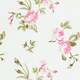 Clarence - Summer - Baby pink and forest green coloured flowers and leaves scattered over white fabric made from 100% cotton