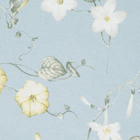 Henley - Forget Me Not - Baby blue coloured 100% cotton fabric patterned with pretty florals in white, cream and dusky blue shades