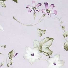 Henley - Lavender - 100% cotton fabric printed with pretty flowers and leaves in purple, white and grey shades on a very pale grey background