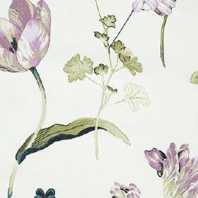 Buckingham - Lavender - White 100% cotton fabric featuring a delicate, feminine pattern in light shades of purple and green