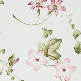 Henley - Summer - Floral patterned fabric made from 100% cotton in white, printed with a pretty, delicate design in pink and green shades