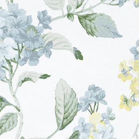 High Grove - Forget Me Not - Light shades of blue and some cream making up a pretty floral and leaf pattern onwhite 100% cotton fabric