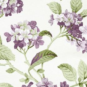 High Grove - Lavender - Flowers in dark and light shades of purple printed with dark green leaves on white fabric made from 100% cotton