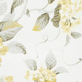 High Grove - Lemon - 100% cotton fabric printed with a pretty, sophisticated floral pattern in white and light shades of yellow and grey