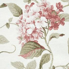 High Grove - Rose - Dusky, muted shades of pink and grey making up a pretty, elegant floral and leaf pattern on 100% cotton fabric
