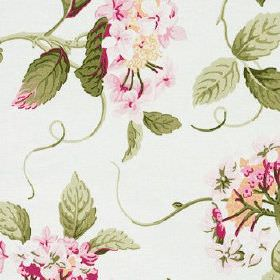 High Grove - Summer - Flowers and leaves printed inolive green and rich shades of pink on fabric made from 100% cotton in white