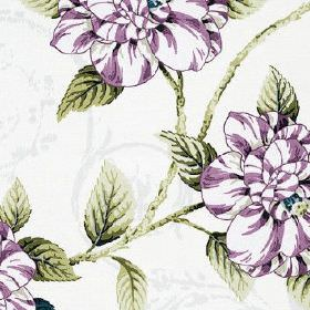 Osbourne - Lavender - White flowers with dark purple highlights printed with dark forest green coloured leaves on white 100% cotton fabric