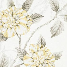 Osbourne - Lemon - Very subtly patterned pale grey and white 100% cotton fabric printed with pretty flowers and leaves in light grey and yellow