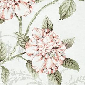 Osbourne - Rose - Grey leaves printed with white and light pink shaded flowers on 100% cotton fabric made in bright white