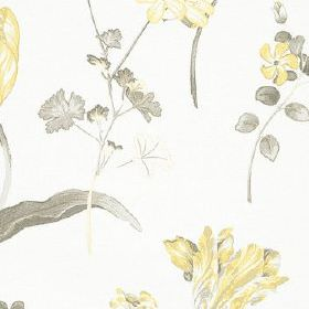 Buckingham - Lemon - Fabric made from 100% cotton in white and light shades of yellow and grey, featuring a light, delicate floral pattern