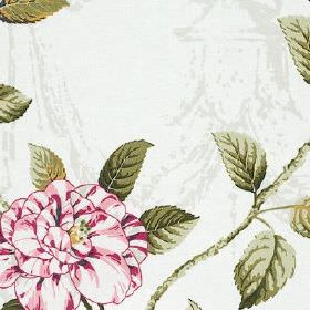 Osbourne - Summer - Dark shades of pink and forest green making up a floral and leaf pattern on subtly patterned pale grey 100% cotton fabric