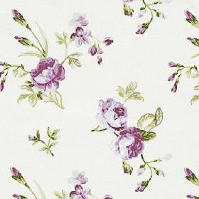 Clarence - Lavender - Dark shades of purple and green making up a delicate, pretty pattern of flowers and leaves on white 100% cotton fabric