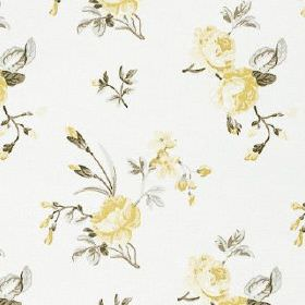 Clarence - Lemon - Delicate, pretty floral patterns in light shades of grey and yellow on a crisp white 100% cotton fabric background