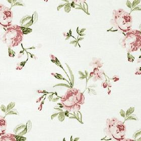 Clarence - Rose - Fabric made from white 100% cotton, scattered with a pretty, delicate floral design in muted, elegant pink and green tones
