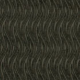 Carrie - Smoke - Two dark shades of grey making up a stylish pattern of thin, wavy, zigzag stripes on fabric made from 100% polyester