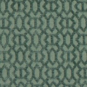 Heeley - Aqua - Slightly textured geometric patterns covering dusky blue coloured 100% polyester fabric