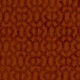 Heeley - Saffron - Rust coloured fabric made from 100% polyester, featuring a simple, textured geometric design in reddish brown