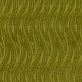 Carrie - Lime - Olive green coloured wavy zigzag lines creating a large, thin, stylish pattern on fabric made from 100% polyester