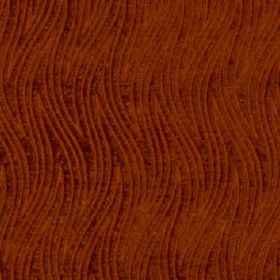 Carrie - Saffron - Rich rust coloured fabric made from thin, wavy, zigzag stripe patterned 100% polyester fabric