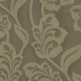 Lebala - Champagne - Light grey elegant, stylised leaves and flowers covering a background of 100% polyester fabric in a darker shade of gre