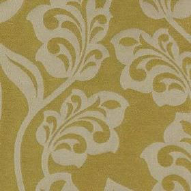 Lebala - Mimosa - Dark creamy yellow coloured fabric made from 100% polyester, with elegant, stylised leaves and flowers in pale grey-white