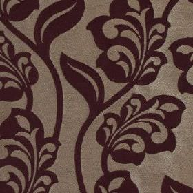 Lebala - Mulberry - 100% polyester fabric with an elegant, stylised floral design in a luxurious combination of dark purple and silver-grey