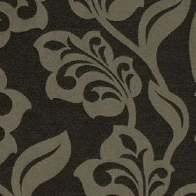 Lebala - Noir - Flowers and leaves making up a pretty, stylised pattern on fabric made from 100% polyester in two shades of grey