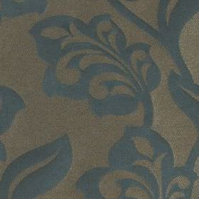 Lebala - Petrol - Similar shades of blue and grey making up a pretty, elegant pattern of stylised leaves and flowers on 100% polyester fabri