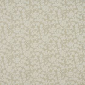 Grasmere - Nougat - Floral patterned cotton and polyester blend fabric with a simple design in beige and white