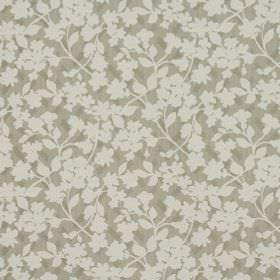 Grasmere - Putty - Fabric containing cotton and polyester in beige, scattered with a simple, small floral design in cream