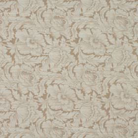Kensington - Blush - Large cream coloured flowers and leaves almost entirely covering cotton and polyester blend fabric in light brown