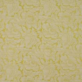 Kensington - Dijon - Citrus and pale grey coloured fabric made from cotton and polyester, with a very large repeated floral design