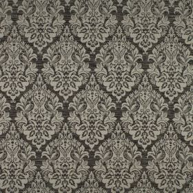 Luddington - Flint - Very ornate, intricate light grey patterns repeatedly printed on charcoal coloured polyester-cotton-viscose blend fabri