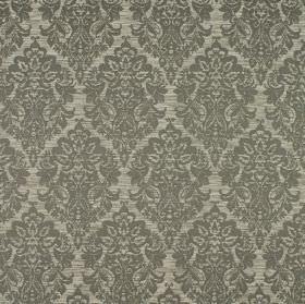 Luddington - Vole - Repeated patterns of ornate intricate designs in dark grey on a light grey fabric background made from various materials