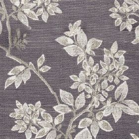 Cosima - Amethyst - Silvery white coloured leaves and branches patterning a dark grey coloured polyester and cotton blend fabric background