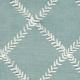 Dinah - Duck Egg - Fabric made from polyester and cotton, featuring a simple grid made up of rows of tiny leaves made in white & light blue