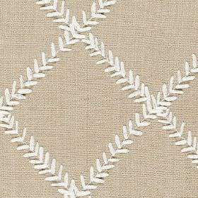 Dinah - Linen - Polyester and cotton blend fabric patterned with a grid made up of rows of tiny leaves in white and light putty colours